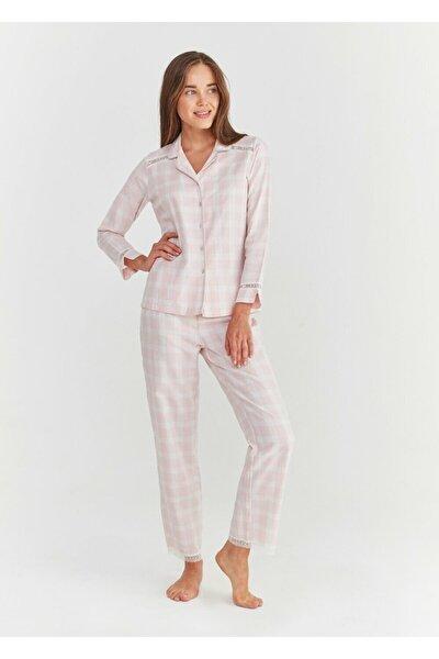 Kadın Pembe Ekoseli Sofia Maskulen Pijama Takımı
