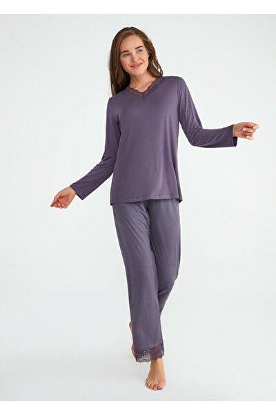 Kadın Mor Crystal Pijama Takımı