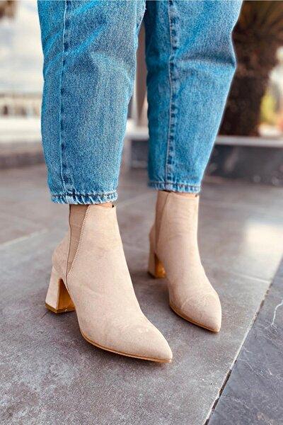 Akama Kadın Bej Süet Bayan Topuklu Bot