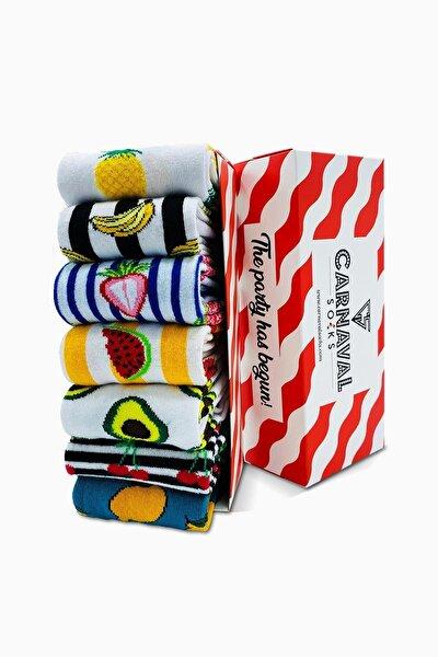 7'li Meyve Kutulu Fruits Desenli Renkli Çorap Set