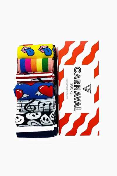 7'li Happy Socks Desenli Renkli Çorap Set