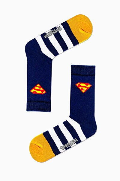 Lacivert Superman Desenli Renkli Çorap