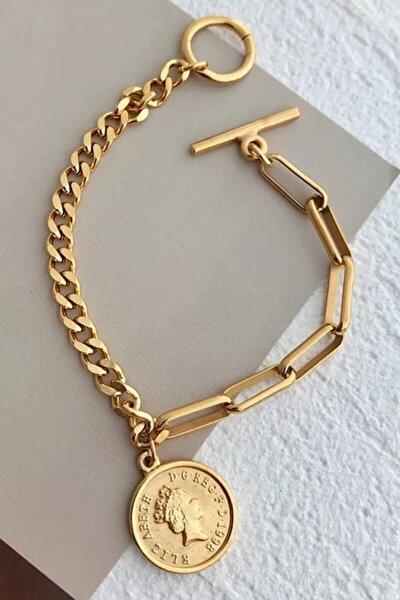 Gold Altın Kaplama Madalyon Bayan Bileklik