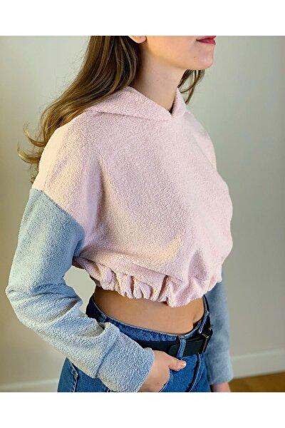 Kadın Pembe Kapüşonlu Renk Bloklu Crop Sweatshirt