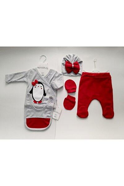 Kız Bebek Kırmızı Penguen Desenli 5 Li Zıbın Seti