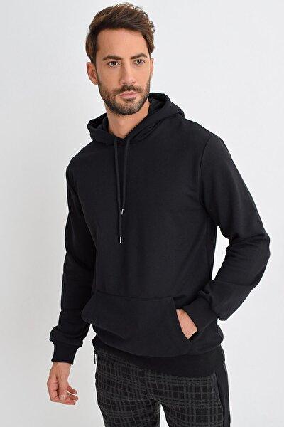 Erkek Siyah Kapüşonlu Kanguru Cep Basic Sweatshirt