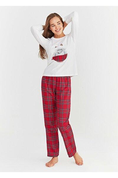 Kadın Kırmızı Ekoseli Pijama Takımı