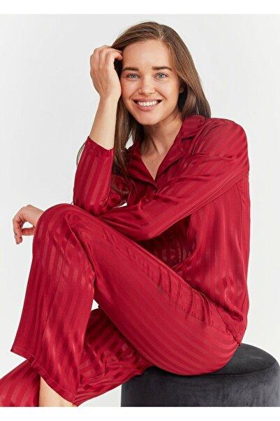 Kadın Bordo Diana Maskulen Pijama Takımı