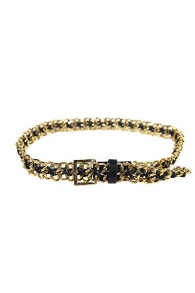 Kadın Gold Siyah Zincir Kemer