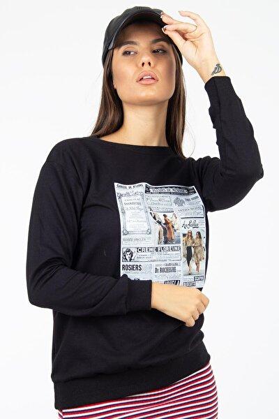 Kadın Siyah Baskili Sweatshirt Mrpl1494S