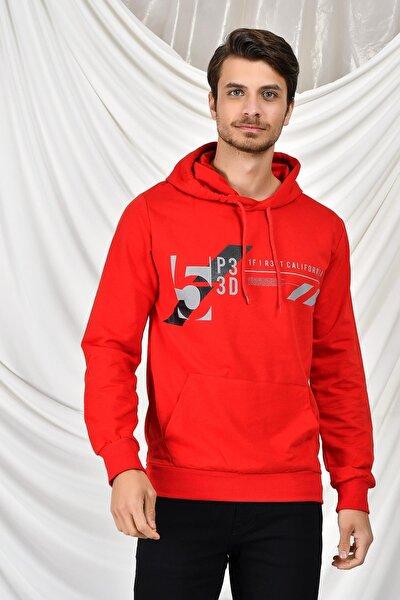 Erkek Kırmızı Kapüşonlu Kanguru Cepli Baskılı Sweatshirt