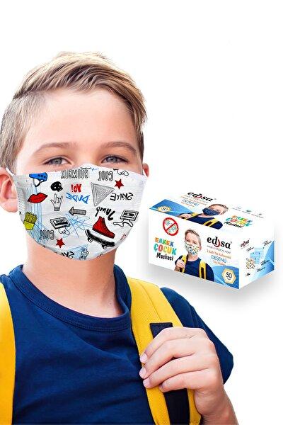 3-14 Yaş Erkek Çocuk 10 Desen 50 Adet 3 Katlı Meltblownlu Telli Tek Kullanımlık Koruyucu Yüz Maskesi