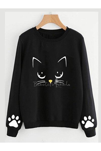 Kadın Siyah Cat Iki Iplik Sweatshırt