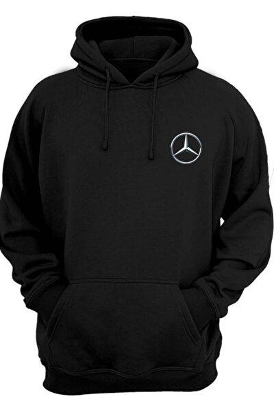 Unisex Siyah Mercedes Benz Logo Kapüşonlu Sweatshirt