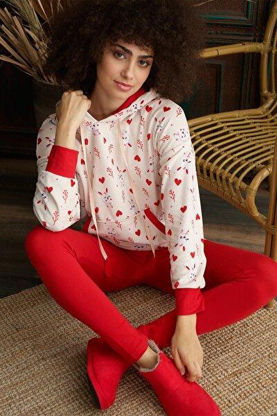 Kadın Kapüşonlu Pijama Takım