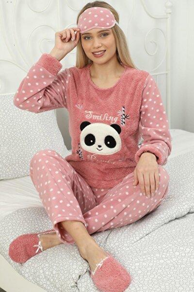 Kadın Pembe Smiling Desenli Kadın Peluş Pijama Takımı