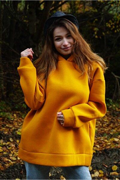 Kadın Hardal Üç İplik Sweatshirt