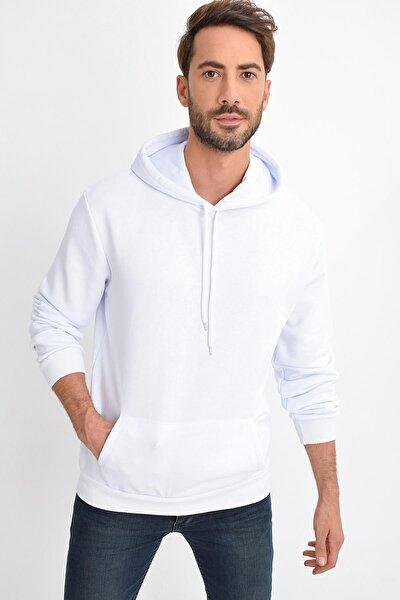 Erkek Beyaz Kapüşonlu Kanguru Cep Basic Sweatshirt
