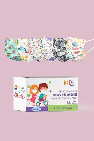 Kız Çocuk 3 Katlı, Meltblownlu, Telli Medikal Maske 50 Adet