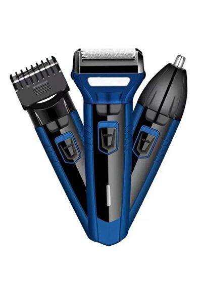 3'lü Set Şarjlı Saç Sakal Tıraş Makinesi 3 In 1 Burun Kılı Alma 3 Başlıklı Bakım Seti Traş Makinası