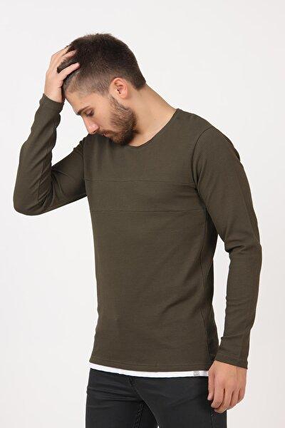 Erkek Haki Bis Yaka Petek Örgü Altı Parçalı Sweatshirt