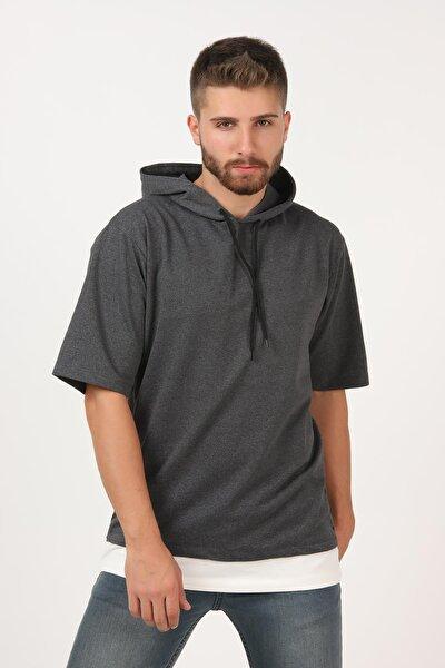 Erkek Antrasit Kısa Kollu Kapşonlu Dirsek Kol Oversize Tişört