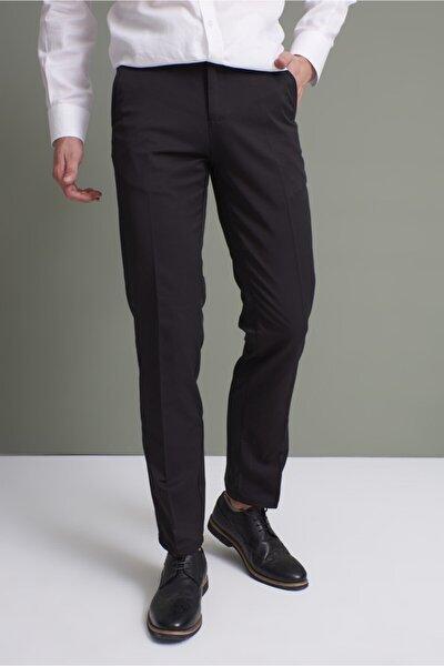 Erkek Siyah Klasik Rahat Kalıp Kumaş Pantolon