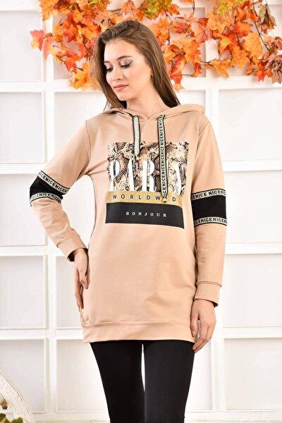 Kadın Kahverengi Paris Baskılı Kol Detaylı Kapüşonlu Sweatshirt