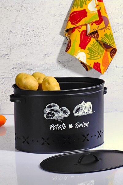 2 Bölmeli Metal Patates Soğan Kovası Siyah 18 Lt