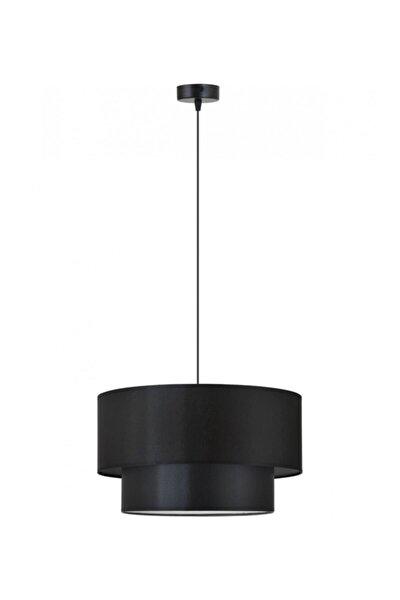 Pasta Modelli Siyah Kumaş Şapkalı Modern Sarkıt Avize