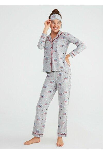 Kadın Gri Baskılı Koalina Maskulen Pijama Takımı