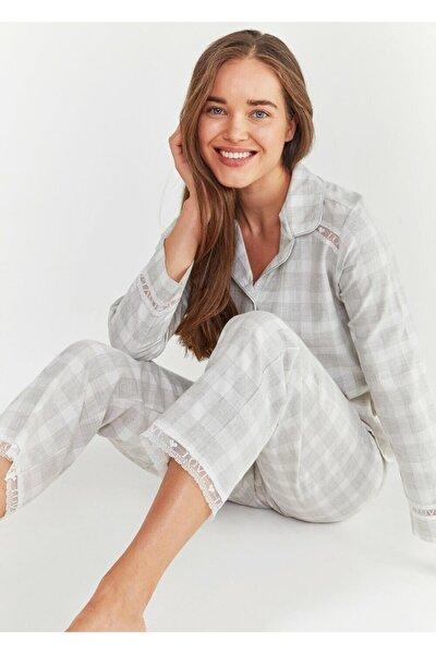 Kadın Gri Ekoseli Sofia Maskulen Pijama Takımı