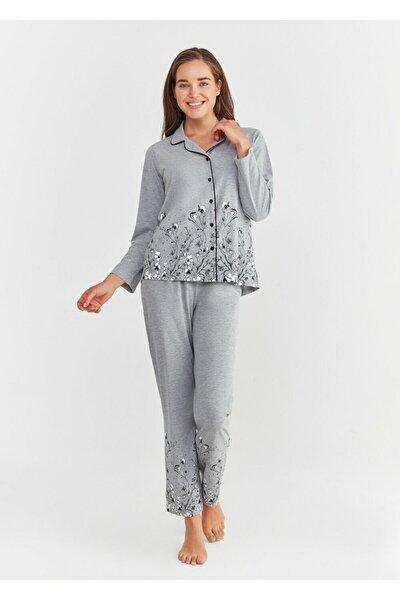Kadın Gri Pearl Maskulen Pijama Takımı