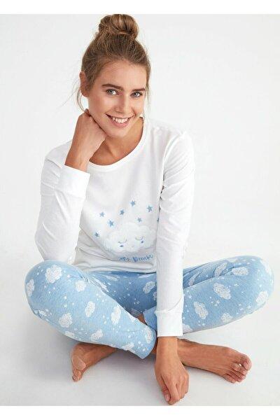 Kadın Mavi Bulut Desenli Bella Spor Pijama Takımı