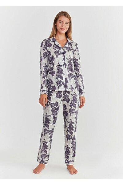 Kadın Mor Baskılı Crystal Maskulen Pijama Takımı