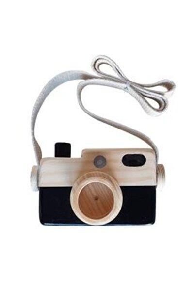 Siyah Ahşap Oyuncak Fotoğraf Makinesi