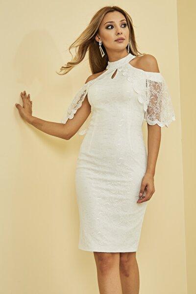 Kadın Beyaz Önü Pencere Detaylı Düşük Omuz Arkası Gizli Fermuar Kapama Astarlı Dantel Elbise