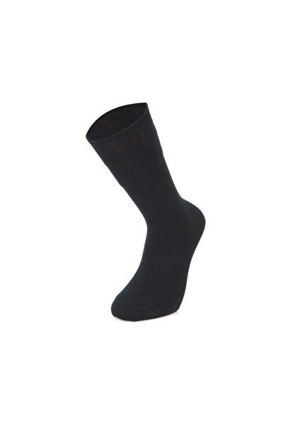 Erkek Lacivert Pamuklu Düz Dikişsiz Çorap 6'lı M1090