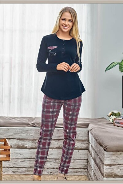Kadın Lacivert Önden Düğmeli Pijama Takım