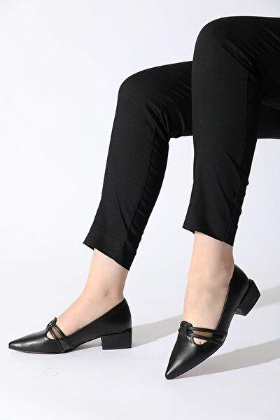 Kadın Siyah Şeffaf Şerit Alçak Topuk Ayakkabı