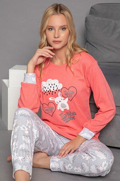 Kadın Pembe Pamuklu Interlok Pijama Takımı