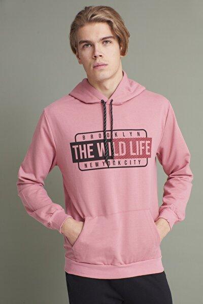 Erkek Gül Kapüşonlu Kanguru Cepli The Wint Life Baskıl Sweatshirt