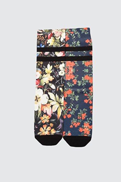 Çok Renkli 2'li Desenli Örme Çorap TWOAW21CO0148
