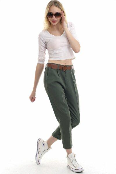 Kadın Haki Kemerli Cepli Keten Pantolon