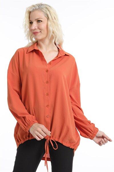 Kadın Kiremit Eteği Bağcıklı Gömlek