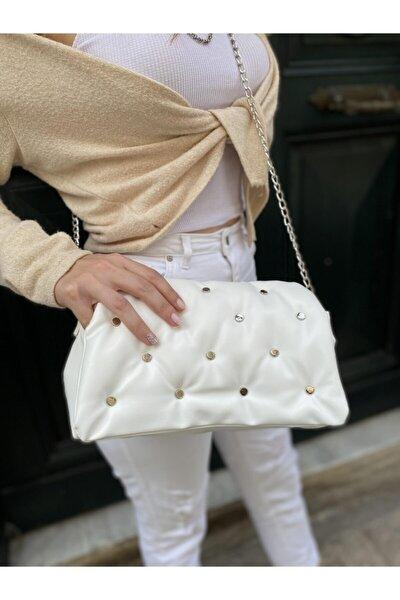 Kadın Beyaz Yumoş Troklu Çapraz Askılı Omuz Çantası