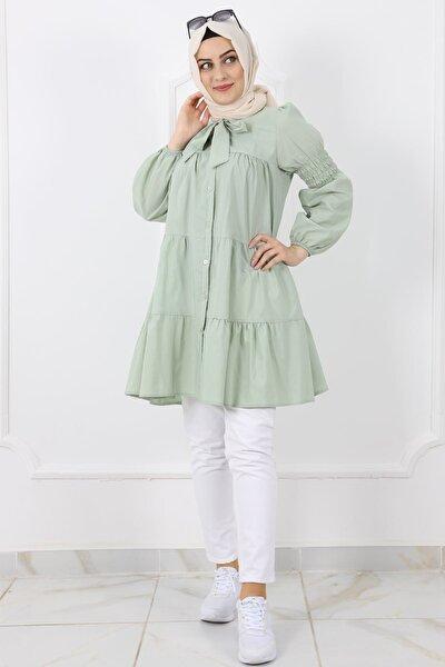Kadın Açık Yeşil Kravatlı Gömlek Tunik 0258