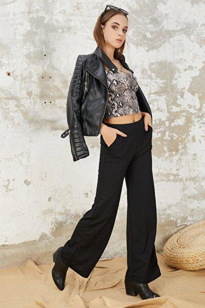 Kadın Siyah Beli Lastikli Bol Paça Pantolon