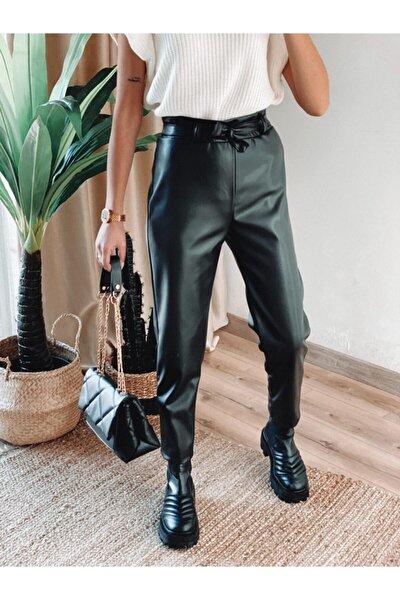Kadın Kemerli Yüksek Bel Deri Pantolon