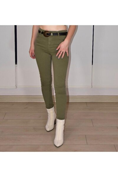 Kadın Yeşil Yüksek Bel Pantolon